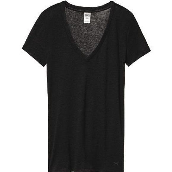 b395b1697a03f NWT Pink Victoria Secret Black V-Neck T Shirt NWT